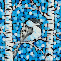 Chickadee Blues Numbers 1-3 at Lizzards Gallery, Aaron Kloss artwork