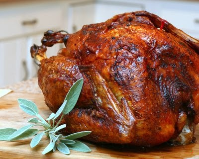Roast Turkey, a simple, basic recipe for roasting a whole turkey. The turkey is 'dry brined' overnight to produce dark, crispy skin and moist, flavorful meat. For Weight Watchers, #PP3. #KitchenParade