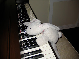 bunny playing the piano