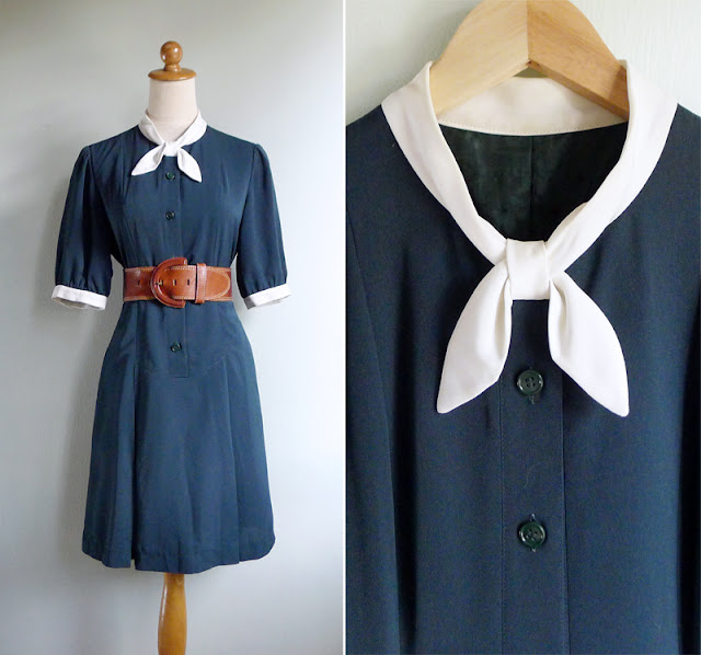 vintage 80's schoolgirl collar dress