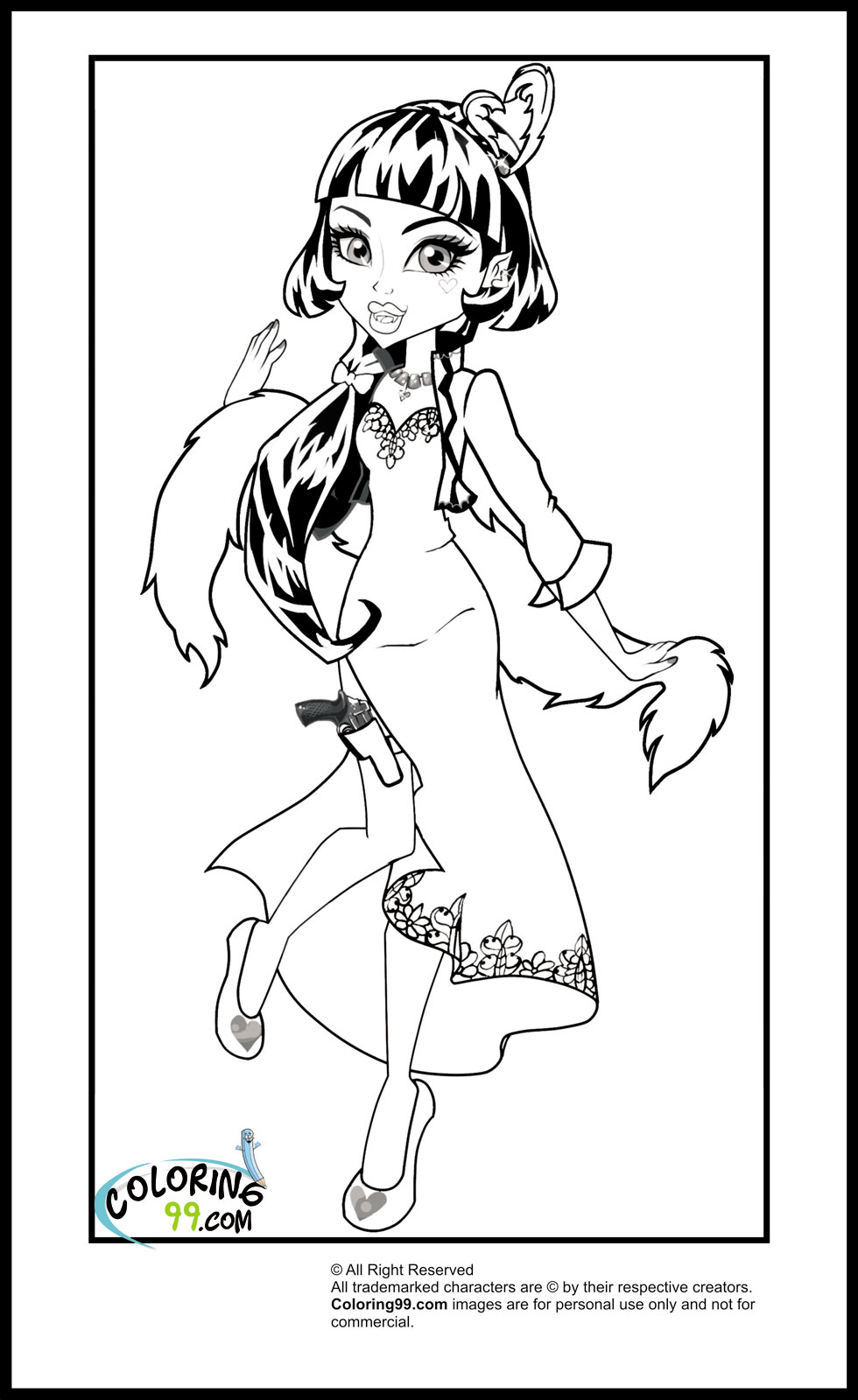 Monster High Draculaura Coloring Pages | Team colors