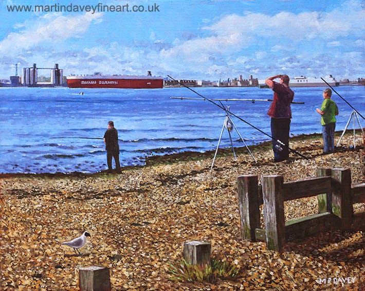 Winter Fishing at Weston Shore, Southampton-oil painting