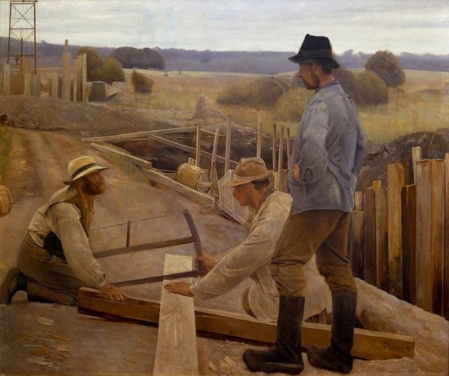 'Arbejdere ved en vandledning ved Søndersø' af L.A. Ring (1891)