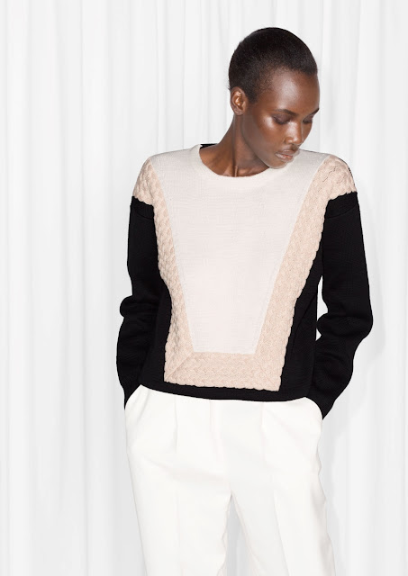 pink white cable jumper, black pink white cable jumper,
