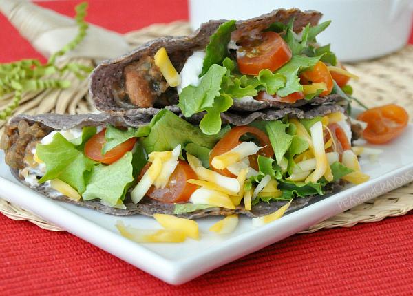 lentil mushroom bean blue corn tacos