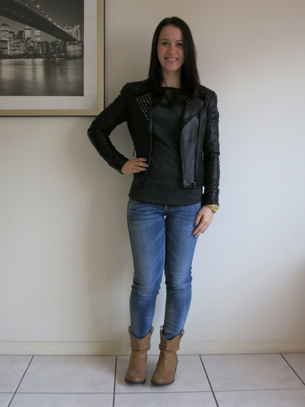 Light wash denim, grey lace t-shirt, black studded leather jacket, brown boots, petite outfit, ankle jeans petite