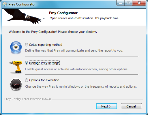 برنامج مجاني يساعدك علي إستعادة الكمبيوتر المحمول (اللاب توب ) المسروق أو المفقود Prey 0.6.2
