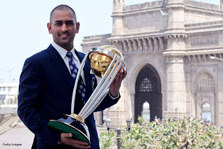M.S Dhoni with cup