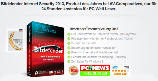 Bitdefender Internet Security 2013 Free 1 year
