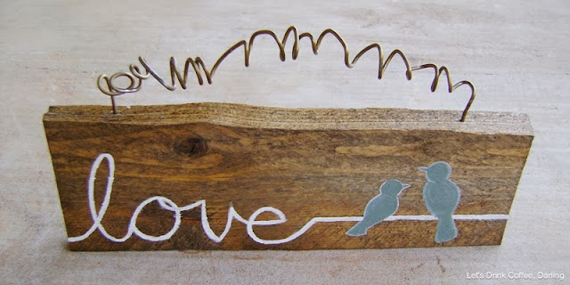 diy love birds wooden sign