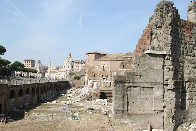 The remaining bases and walls during the Roman empira era in the city center of Rome, Italy