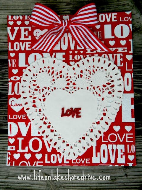 Make a Valentine's wall art from a gift bag