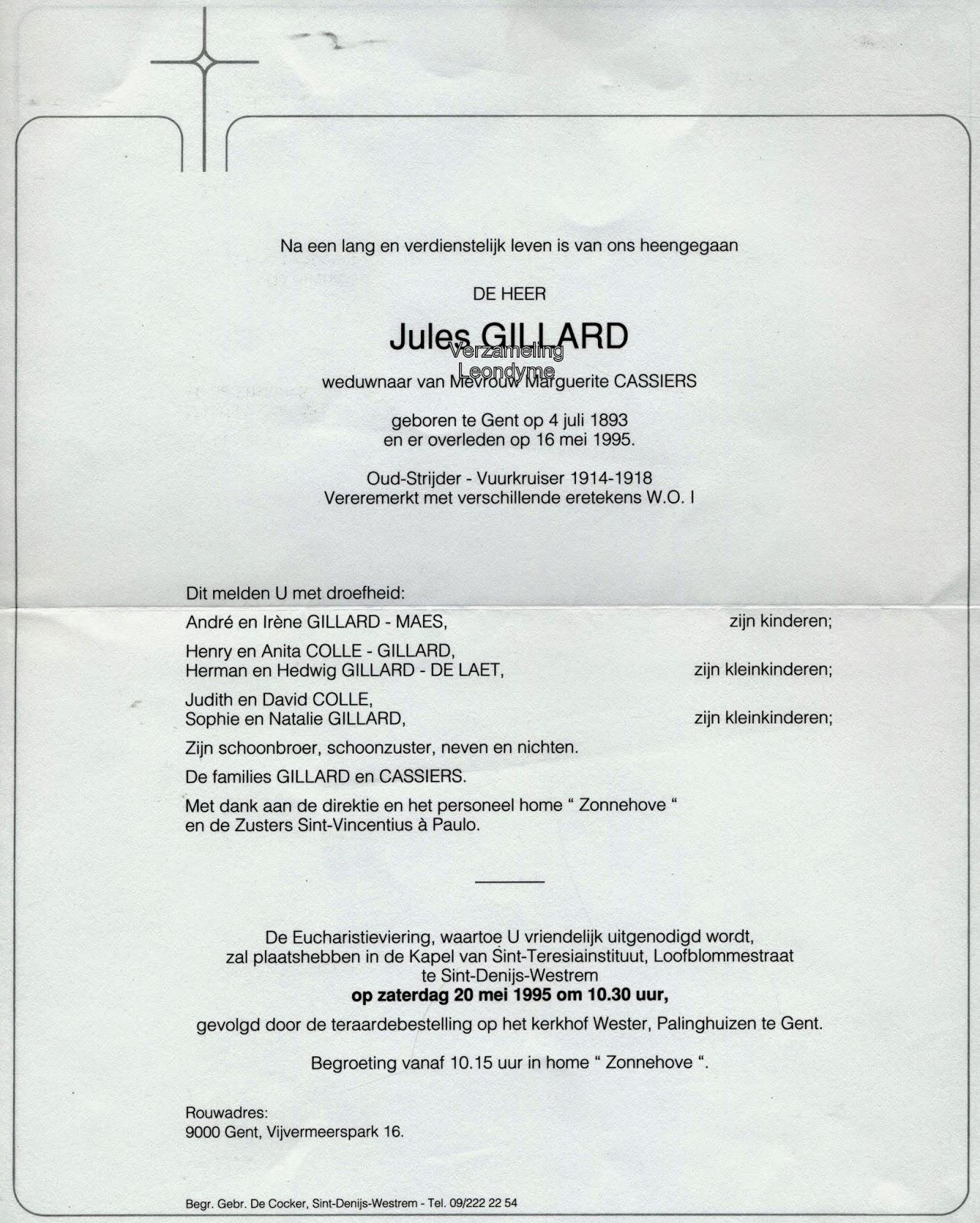Rouwbrief Jules Gillard. Verzameling Leondyme