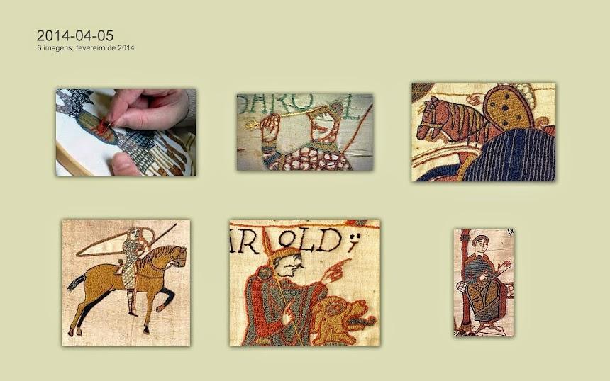Detalhes da Tapeçaria de Bayeux (França, 1066-1077, 50 cm x 700 cm).