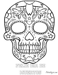 Mascara del día de muertos | feliz dia de muertos para colorear