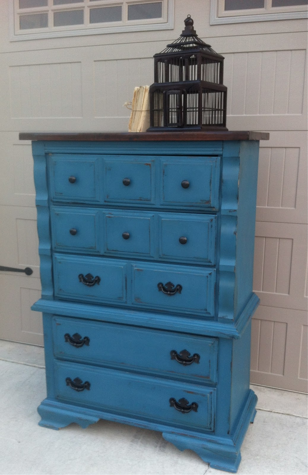 Tall Boy Dresser In Aubsomme Blue