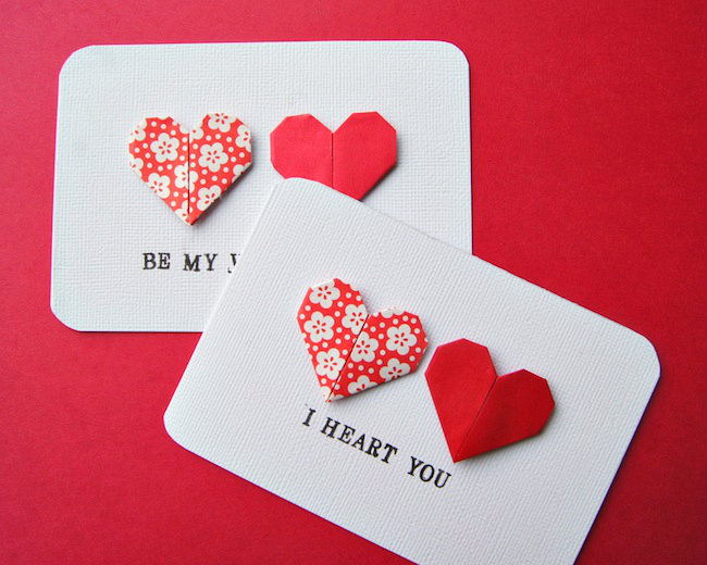 Heres A Sweet But Simple Way To Use Those Origami Hearts You Folded Yesterday Did Fold Some Right These Are The Second Set Of My Cards For