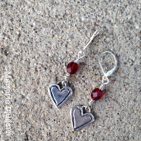 fine silver heart earrings by Emeline Purcell