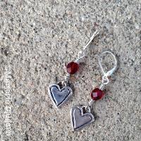 fine silver heart earrings by Emeline Purcell