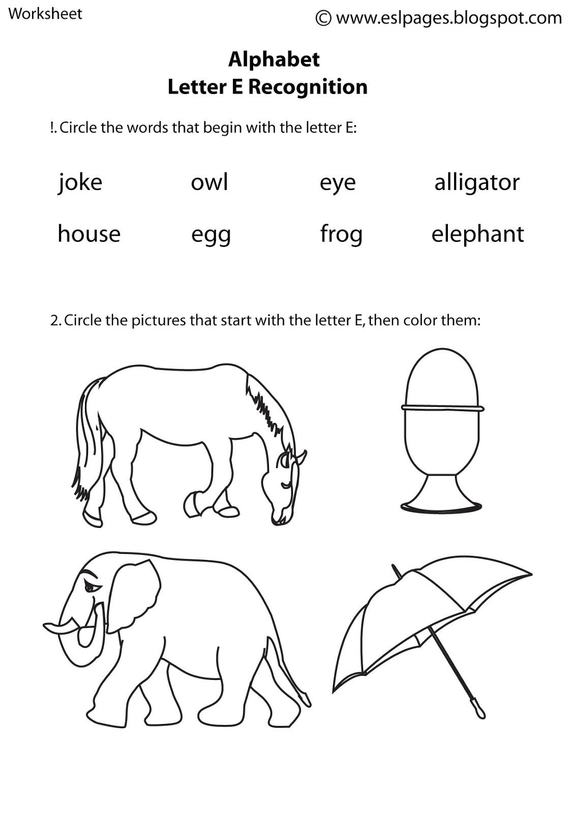 Esl Pages Alphabet worksheets – Head Start Worksheets