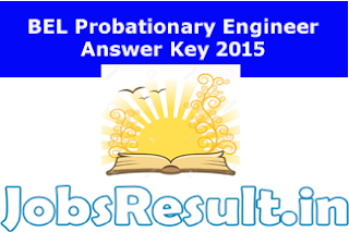 BEL Probationary Engineer Answer Key 2015