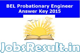 BEL Probationary Engineer Answer Key 2015