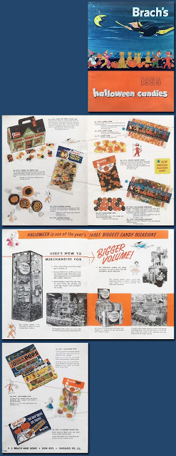 Pages feature vintage Halloween candy products and display ideas.