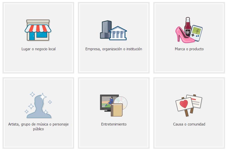 diferentes opciones de negocio para crear la pagina de empresa en facebook