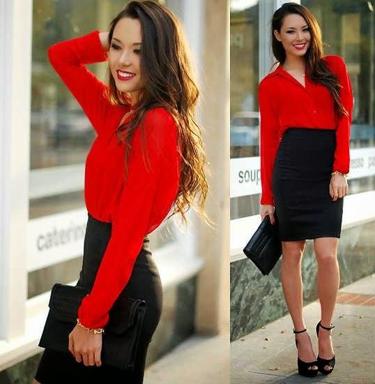 Сочетание красной блузки и черной юбки