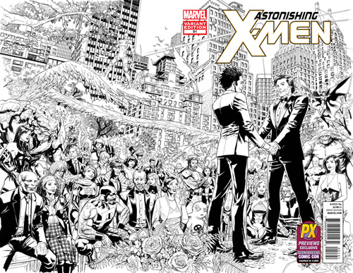 San Diego Comic-Con 2012 Exclusive Astonishing X-Men #51 Sketch Variant Wraparound Black and White Cover