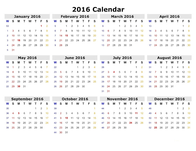 2016 Printable Calendar with Large Dates, 2016 Blank Calendar with ...