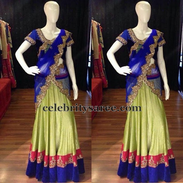 Apple Green Blue Half Saree