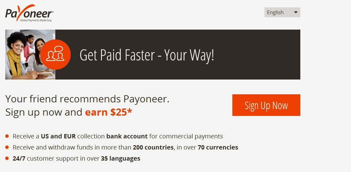 Registration on Payoneer 2014 and get a $ 25 gift