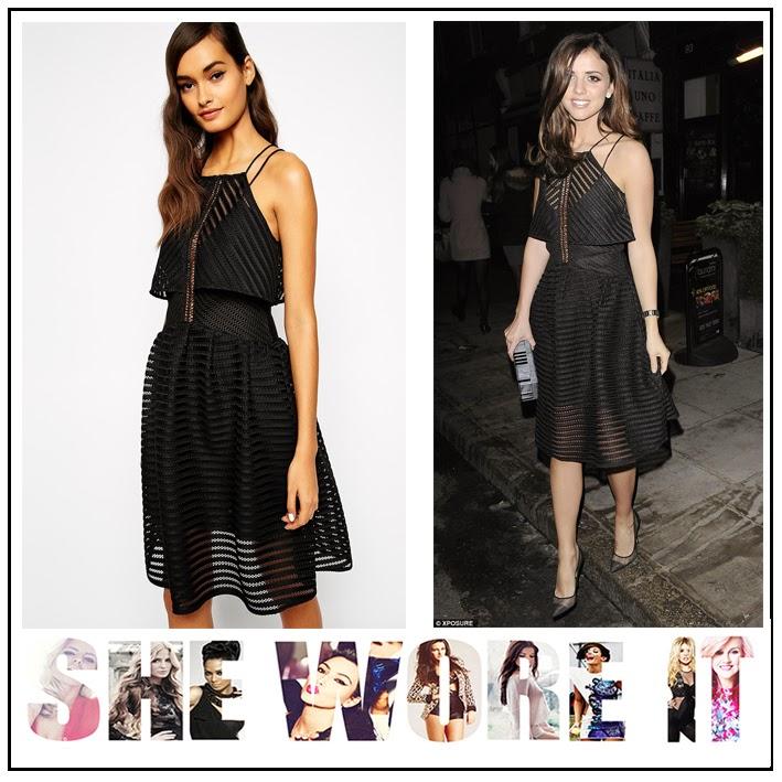 Back Detail, Black, Cut Out Detail, Dress, Full Skirt, High Waisted, Lucy Mecklenburgh, Mesh, Overlay, Self-Portrait, Sheer, Skater Dress, Sleeveless, Strap Detail, Striped, Celebriy Fashion
