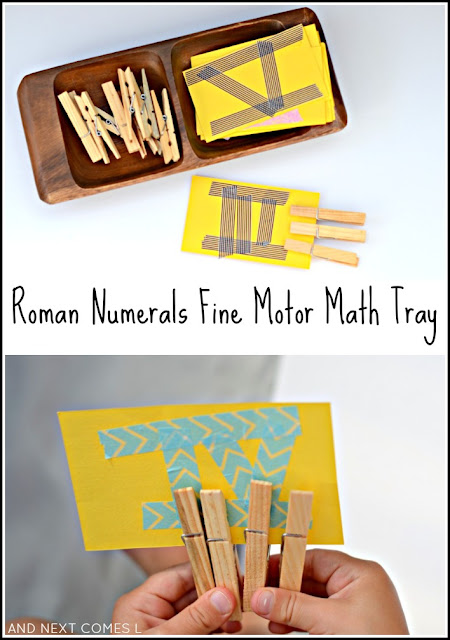 Learn Roman numerals, practice counting, and work on fine motor skills with this simple elementary math tray for kids from And Next Comes L