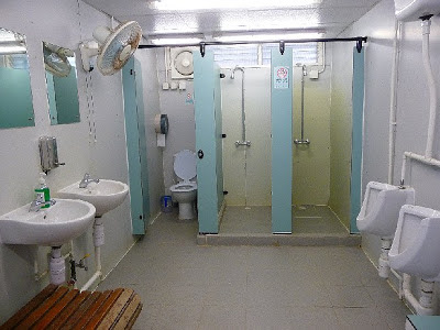 Changing room toilets of Mission Road Cricket Ground in Hong Kong