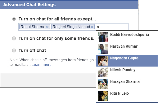 facebook chat option