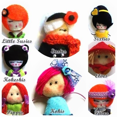Susies, sixties, pippis, faces, kokis, kokeshis, elves, broches, fieltro, muñecas, handmade