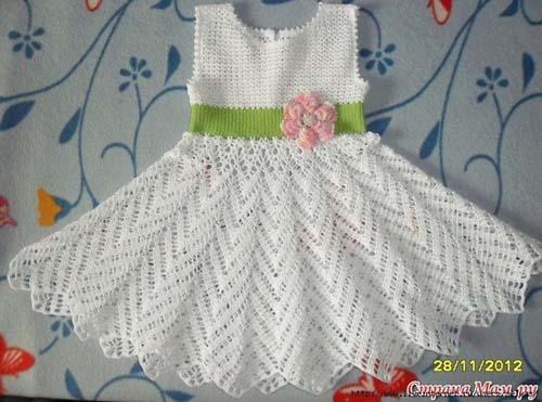 Vestido para niña con punto zig-zag | Crochet y Dos agujas ...