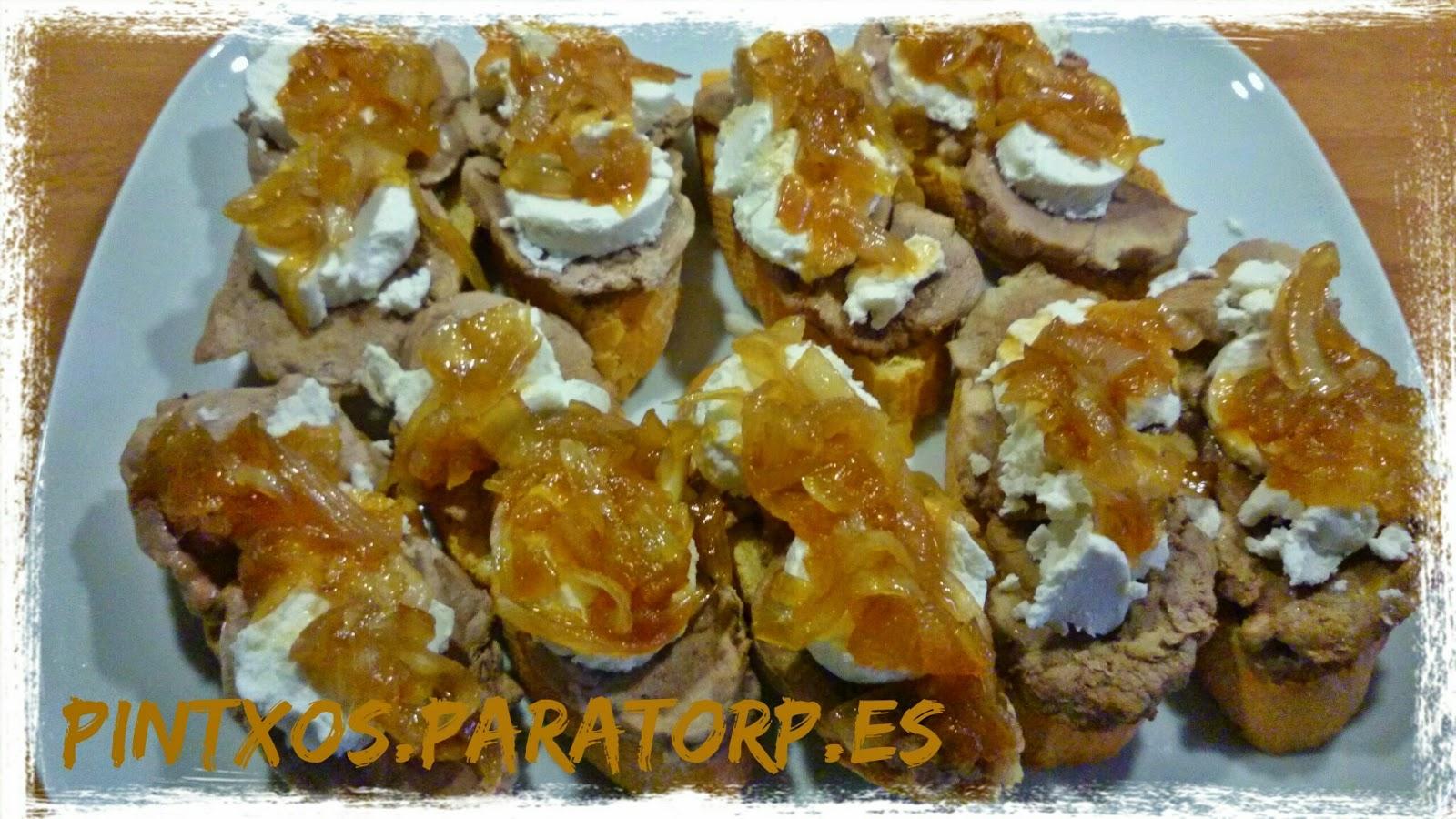 Pintxos para torpes pintxos tapas aperitivos entrantes for Canape de pate con cebolla caramelizada