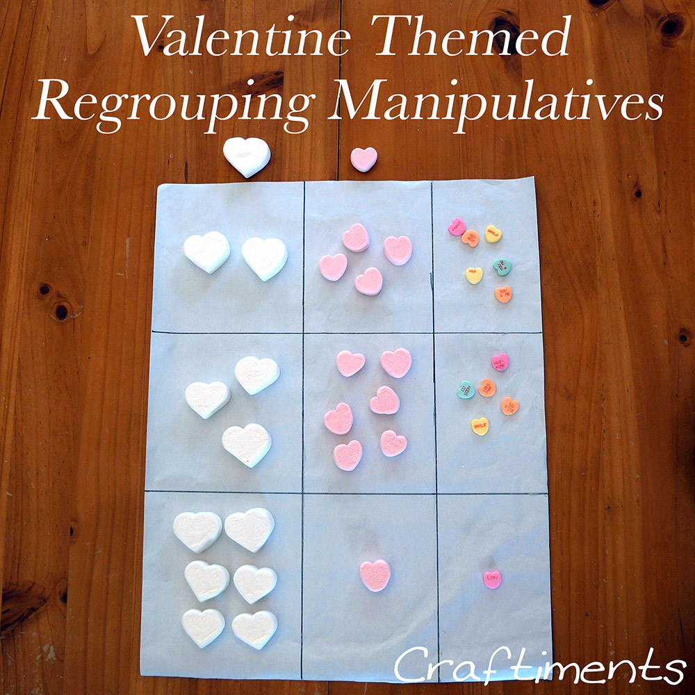 Craftiments:  Valentine Theme Regrouping Manipulatives