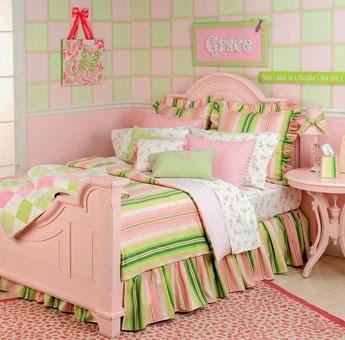 Dormitorios en verde y rosa para ni as dormitorios - Habitacion infantil verde ...