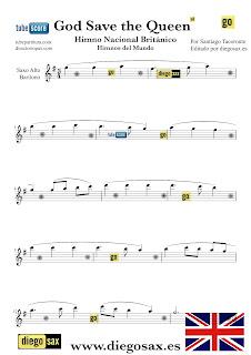 Partitura del Himno Nacional del Reino Unido para Saxofón Alto y Sax Barítono God Save the Queen British National Anthem  Sheets Music Alto and Baritone Saxophone Music Score Partitura Himno Británico También sirve para trompa