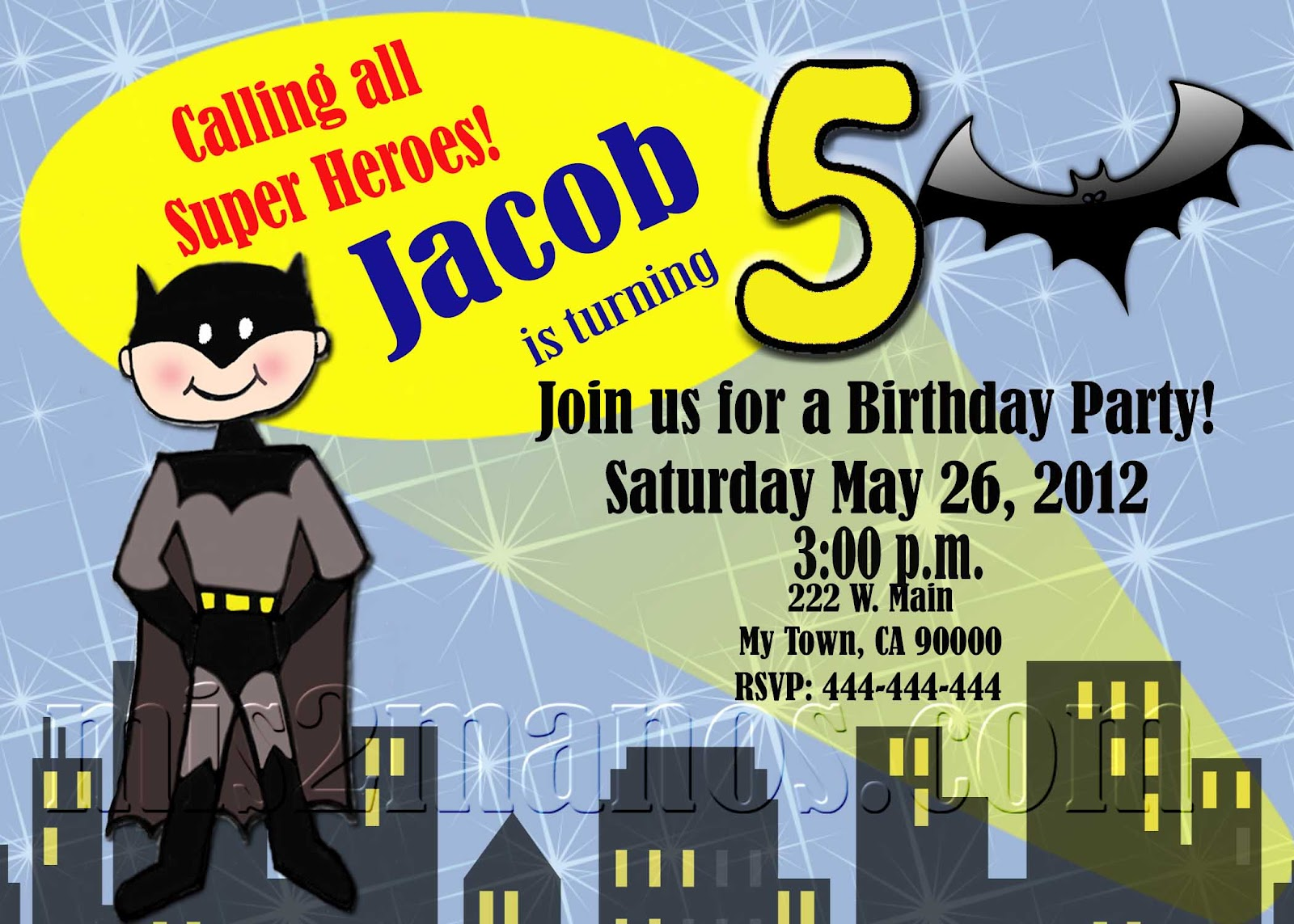 Custom Printable Batman Birthday Party Invitation Carissa
