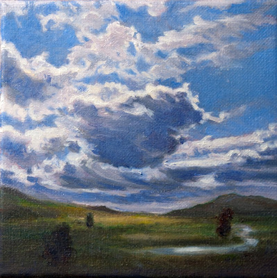 Clouds Sailing Over Tweed River Valley small original contemporary oil painting 6 inch square