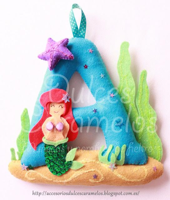 Inicial de fieltro Ariel, la sirenita para Ana