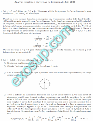 Analyse complexe examen Correction