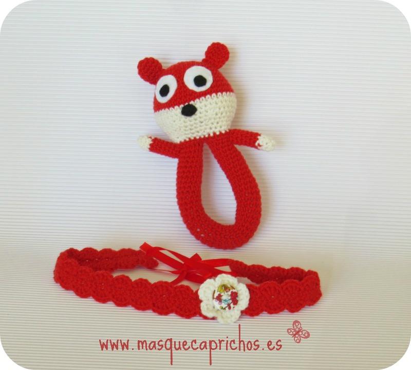 Sonajero y cinta de pelo Crochet