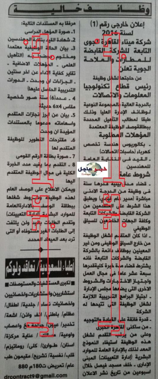 اعلان وظائف شركة ميناء القاهرة الجوى منشور بجريدة الاهرام والتقديم لمدة اسبوعين