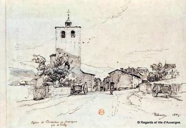 dessin de l'église de chateldon, puy-de-dôme